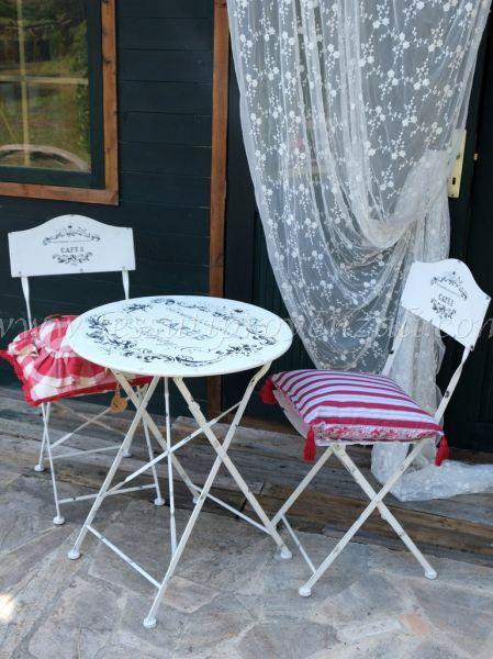"Set tavolino con 2 sedie serie ""Bistrot"" in metallo Blanc Mariclò"