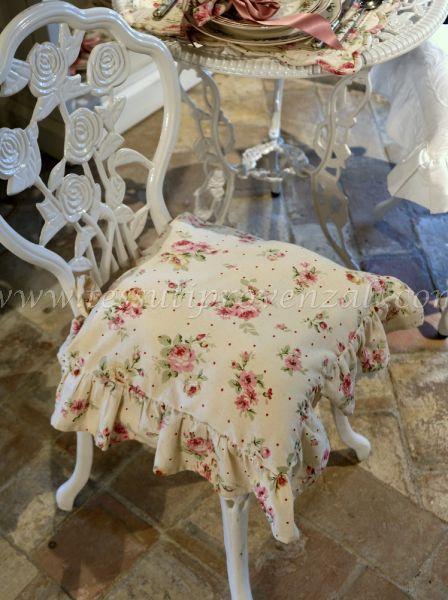 Blanc Mariclo' copricuscino per sedia serie Desdemona shabby chic