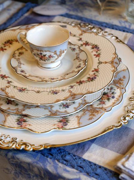 Blanc Mariclo' set due posti tavola porcellana serie Porto Venere shabby chic