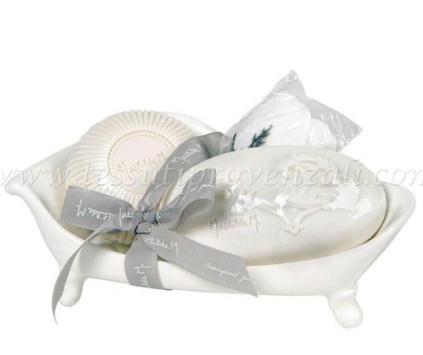 Vasca portasapone Mathilde M. + 2 saponi profumati + 1 rosa in fogli di sapone