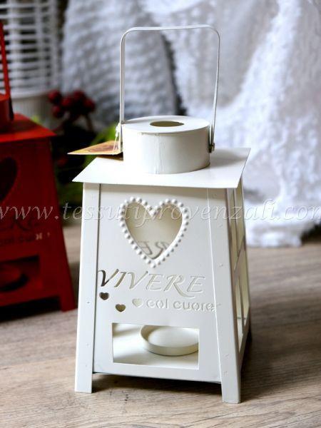 """Lanterna porta tea light """"Vivere con il cuore"""" Angelica Home & Country colore bianco"""