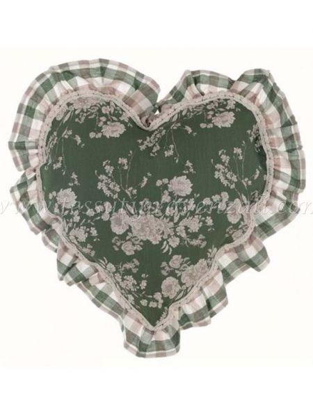 Blanc Mariclo' cuscino cuore serie Lo Speziale shabby chic variante fiori