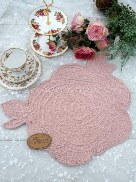 Tovaglietta americana Blanc Mariclo' a forma di rosa – colore rosa