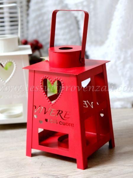 """Lanterna porta tea light """"Vivere con il cuore"""" Angelica Home & Country colore rosso"""