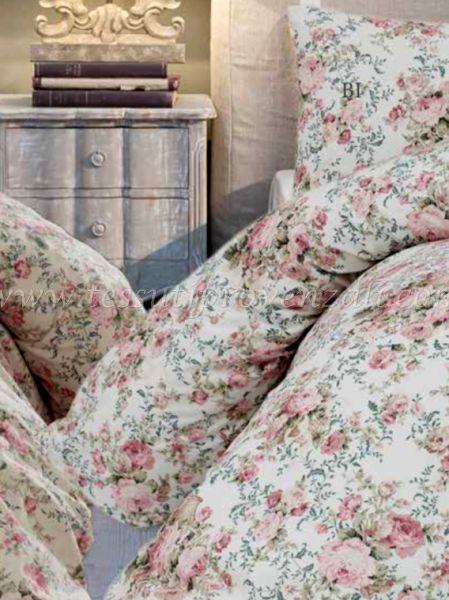 """Parure copripiumino matrimoniale con federe serie """"Marella queen roses"""" Blanc Mariclò – variante bianco –"""
