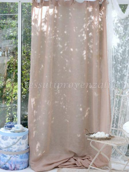Tendone misto lino shabby chic cm. 140 x 290 h. colore beige