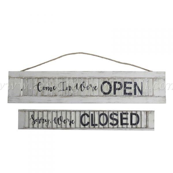 """Insegna """"Open/Closed"""" (aperto/chiuso) in legno Chic Antique Shabby chic"""