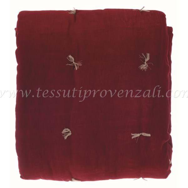 """Trapuntino fondoletto Blanc Mariclo' serie """"Amour Fou"""" in velluto colore rosso cm 150 x 200"""