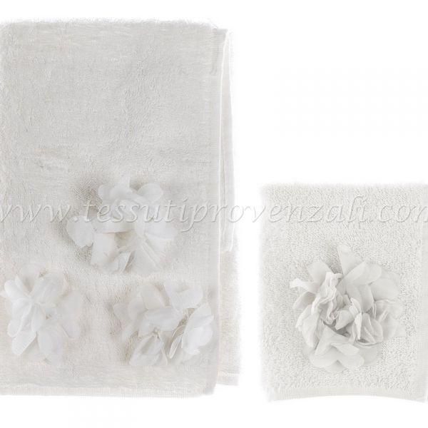 """Coppia asciugamani Blanc Mariclò serie """"Dahlia Collection"""" colore avorio"""