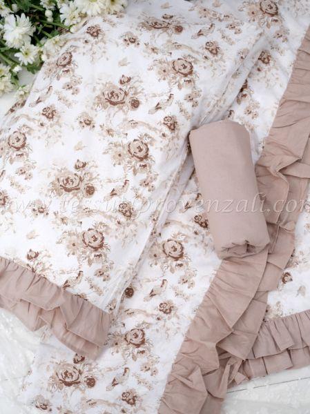 Completo lenzuola con federe letto matrimoniale serie Romantic flowers colore beige