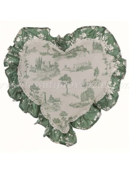 Blanc Mariclo' cuscino cuore serie Lo Speziale shabby chic variante toile de jouy