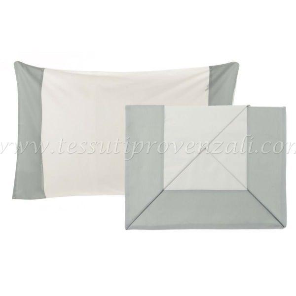 Blanc Mariclo' completo lenzuola matrimoniale con bordo raso grigio perla