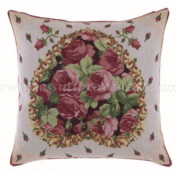 Blanc Mariclo' cuscino gobelin cuore e rose shabby chic cm. 40×40