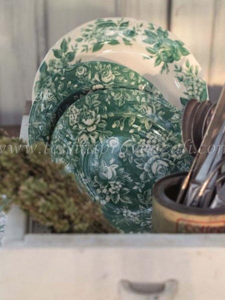 Due posti tavola (set 6 piatti) serie Lo Speziale Splendor verde Blanc Mariclò