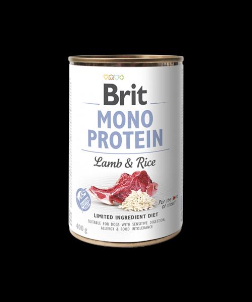 Scatoletta monoproteica agnello e riso – Brit care