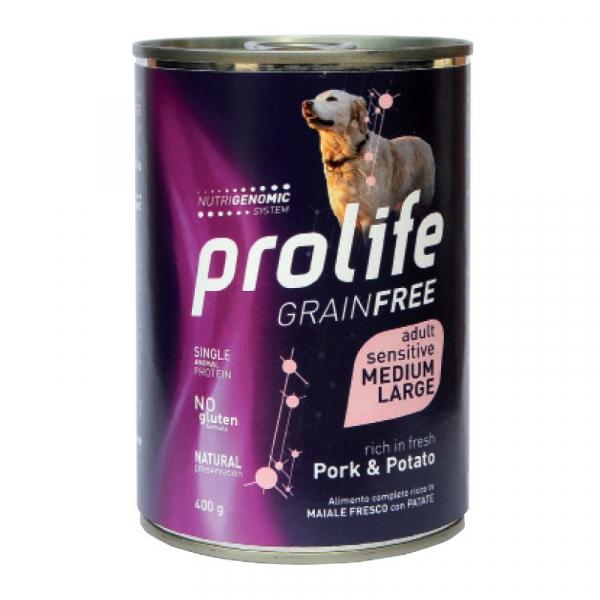 Prolife Dog GRAIN FREE Sensitive Adult Medium/Large – Maiale e Patate 400g