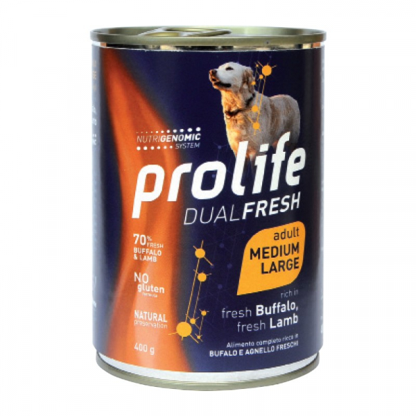 Prolife Dog Dual Fresh Adult Medium/Large – Buffalo e Agnello 400g