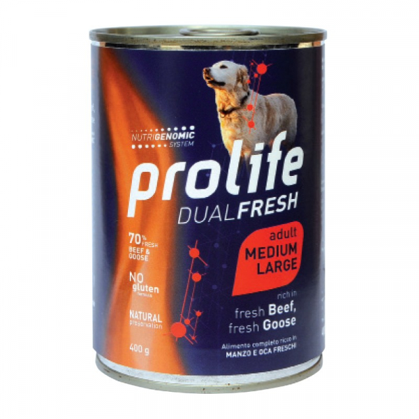 Prolife Dog Dual Fresh Adult Medium/Large – Manzo e Anatra 400g