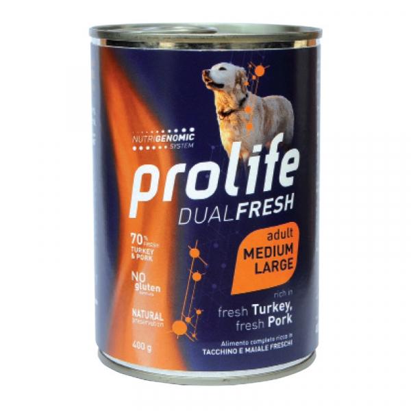 Prolife Dog Dual Fresh Adult Medium/Large – Tacchino e Maiale 400g
