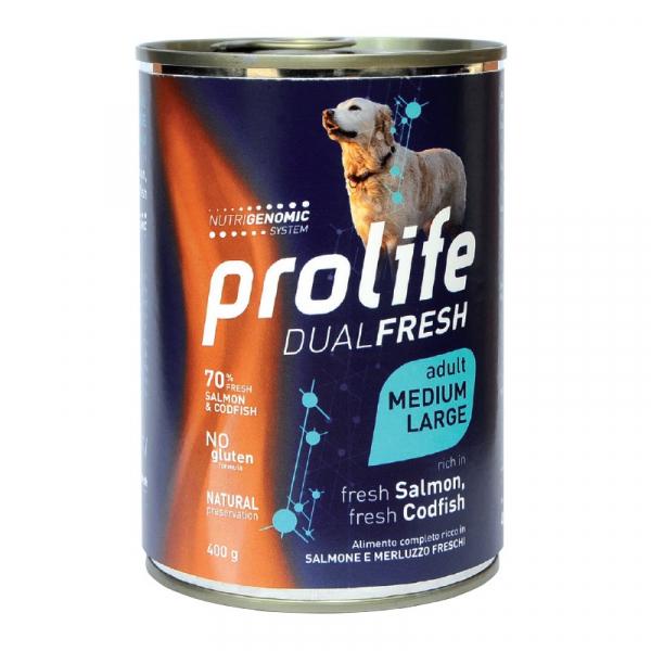 Prolife Dog Dual Fresh Adult Medium/Large – Salmone e Merluzzo 400g