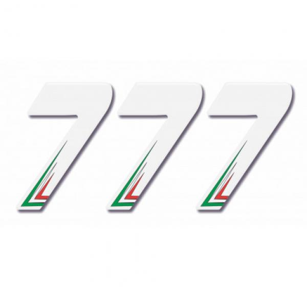 Numero Resinato 3 pz Adesivi resinati Numero SETTE – Bianco