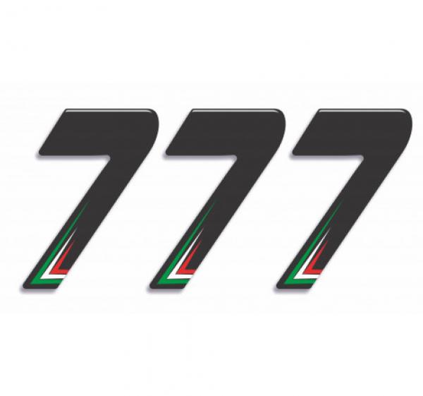 Numero Resinato 3 pz Adesivi resinati Numero SETTE – Nero