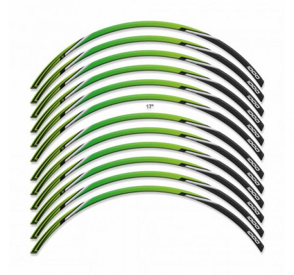 ADESIVI 3D COMPATIBILI CON CERCHI 17′ KAWASAKI Z1000SX 2017-2019 – VERDE