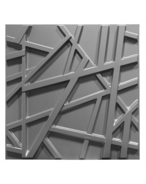 RANDOM grigio-metal-opaco – Pannello parete in PVC a rilievo 3D – 50cmX50cm – 1 Pz