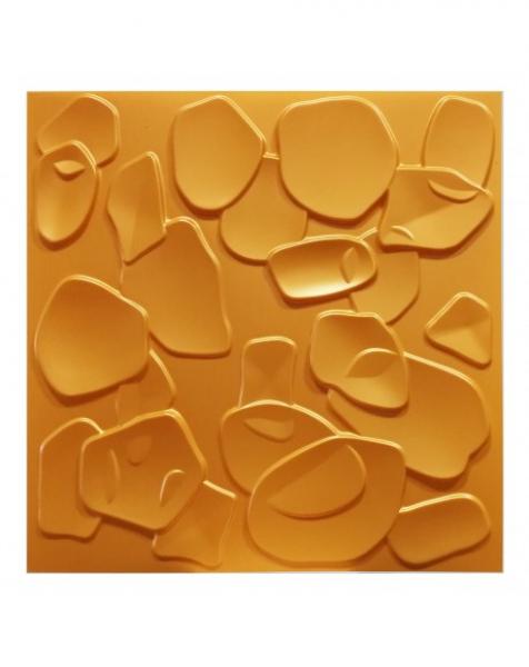CORAL SEA giallo-metal-opaco – Pannello parete in PVC a rilievo 3D – 50cmX50cm – 1 Pz