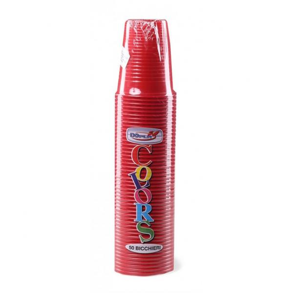 BICCHIERI PLASTICA DOPLA 200 CC Pz 50 ROSSO