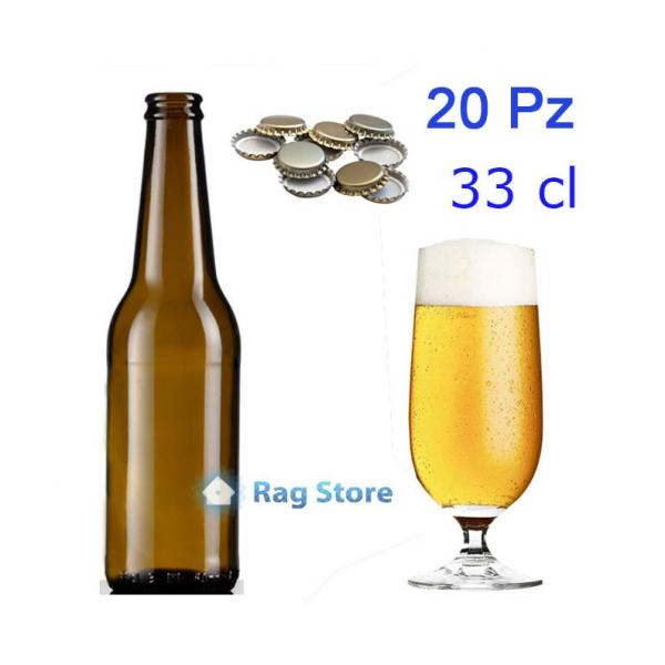 20 Bottiglie bottiglia vetro per birra alta 330 ml – 33 cl con tappi corona