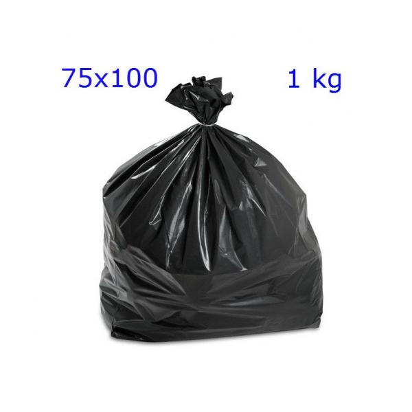 BUSTE SPAZZATURA NERE 75×110 Rotolo KG 1