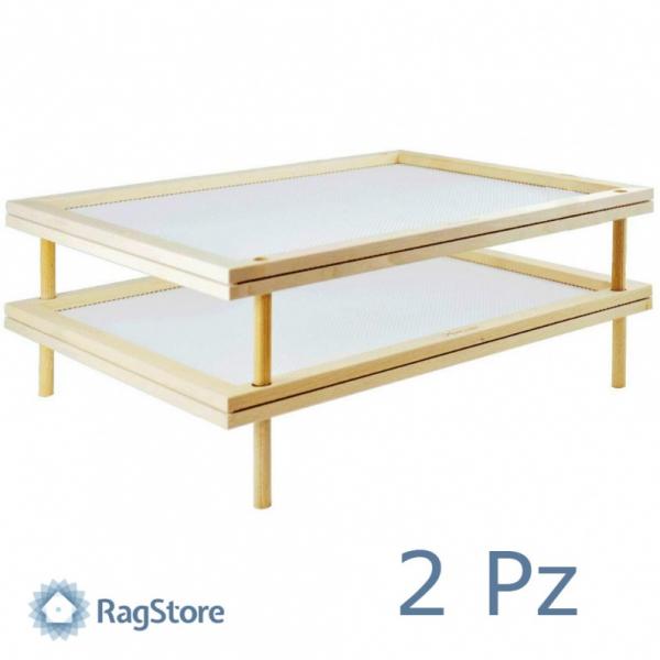 Set 2 Seccatutto a rete sovrapponibili in legno cm 50×40
