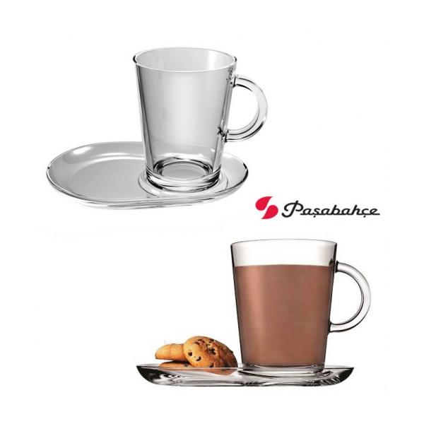 Servizio tazza cappuccino the in vetro Tribeca con piattino 2 pz