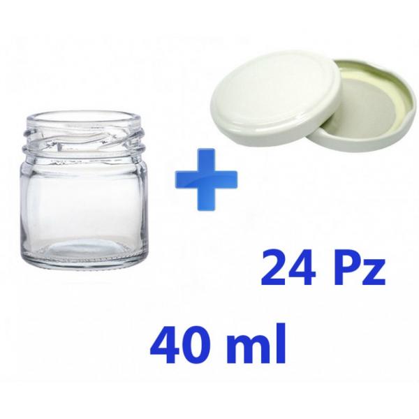 24 Barattoli vasetti vetro per monodose miele 40 ml con tappo