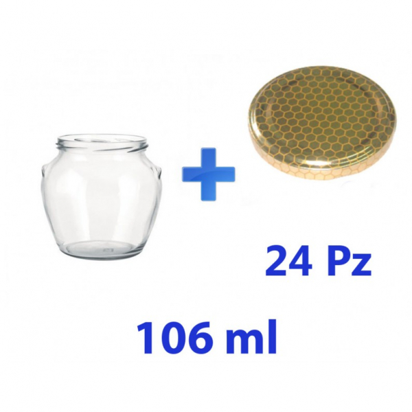 24 Barattoli in vetro Orcio per Miele 106 ml – 130 g con tappo