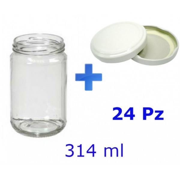 24 Barattoli in vetro per marmellate e sottolio 314 ml con tappo