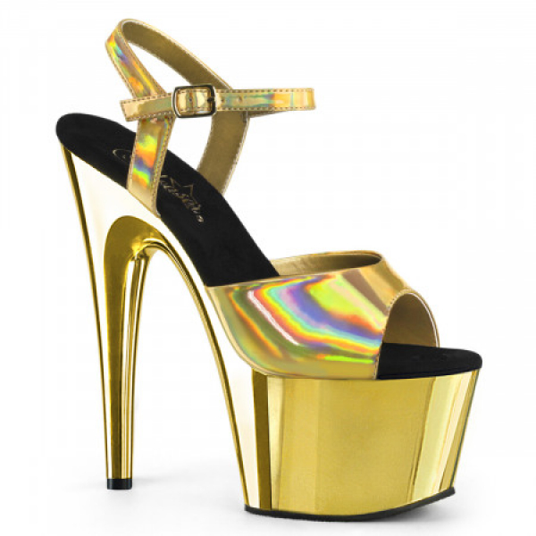Pleaser ADORE-709HGCH Gold Hologram/Gold Chrome