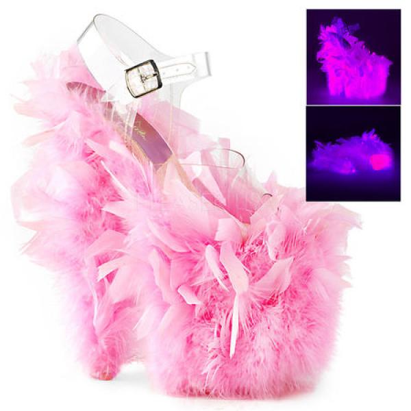 Pleaser FLAMINGO-808F Clr/Neon Pink Marabou Feathe