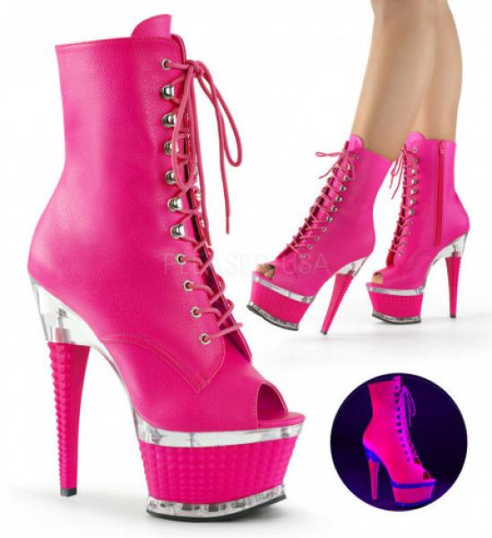 Pleaser ILLUSION-1021 Neon H. Pink Faux Le/H. Pink