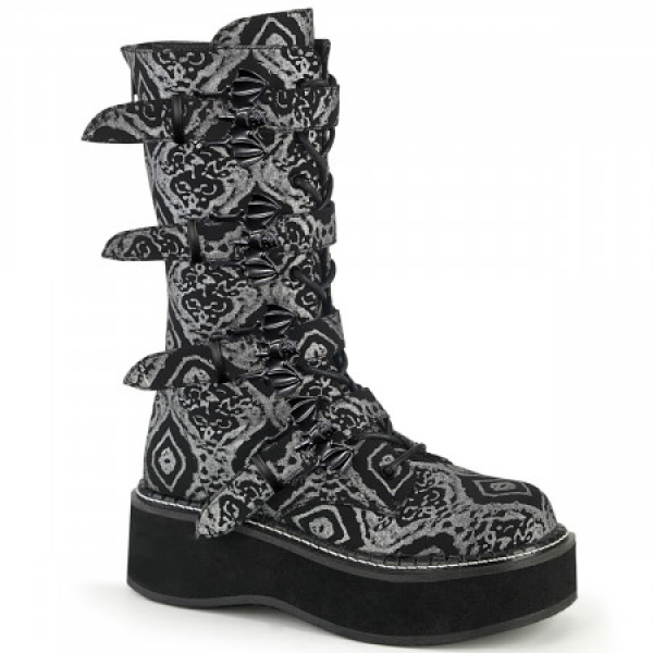 Demonia EMILY-322 Blk-Silver Faux Nubuck Leather