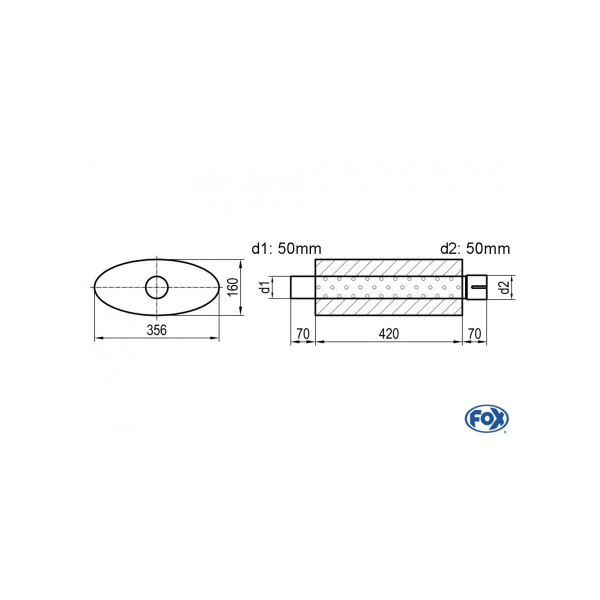 Uni-silenziatore ovale con perno – svolgitore 818 356x160mm d1 50mm d2 505mm lunghezza: 420mm