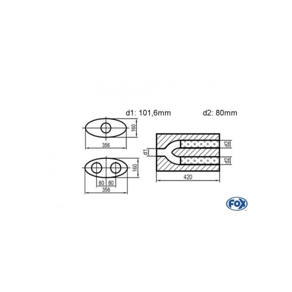 Uni-silenziatore ovale doppio flusso con pantaloni – svolgitore 818 356x160mm d1 1016mm d2 80mm lunghezza: 420mm