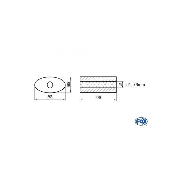 Uni-silenziatore ovale senza attacco – svolgitore 818 356x160mm d1 76mm lunghezza: 420mm