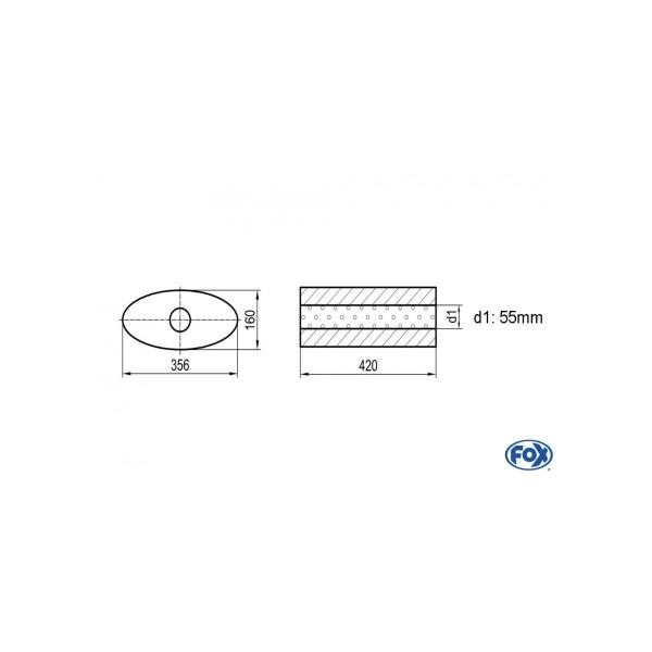 Uni-silenziatore ovale senza raccordo – svolgitore 818 356x160mm d1 55mm lunghezza: 420mm