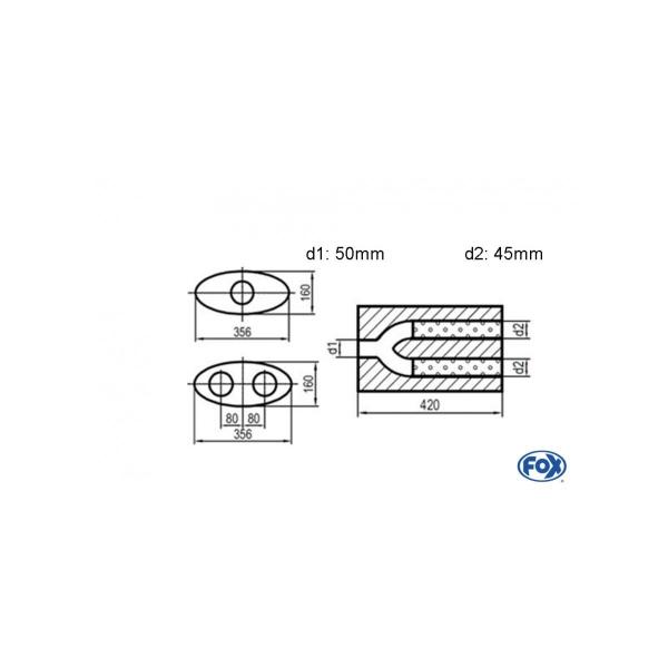 Uni-silenziatore ovale 2 uscite con pantaloni – svolgitore 818 356x160mm d1 50mm d2 45mm lunghezza: 420mm